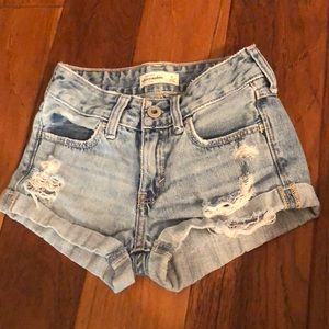 Abercrombie Girls kids ripped Jean shorts 8